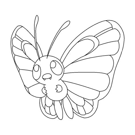pokemon coloring pages caterpie butterfree lineart by michy123 on deviantart