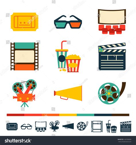 shutterstock design elements and layout set movie design elements cinema icons stock vector