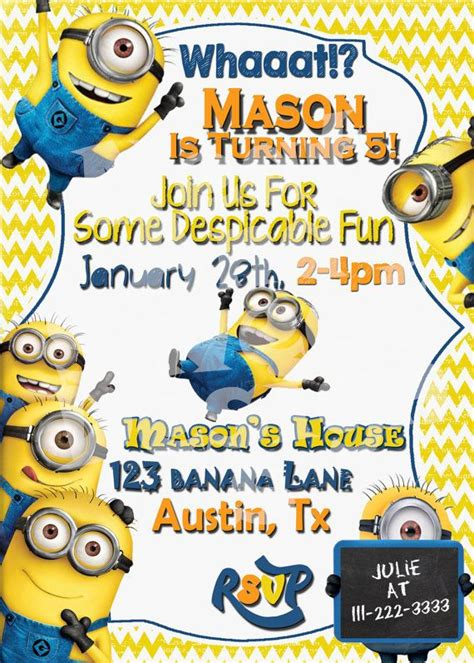 Minion Birthday Invitation Despicable Me Parties Pinterest Birthdays Minion Birthday Minion Invitation Template
