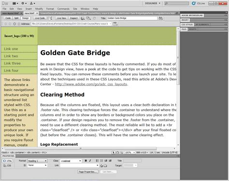 layouts with css in dreamweaver mengedit layouts css di dreamweaver cs5 206 241 f 245 rm 226 t 238 248 241