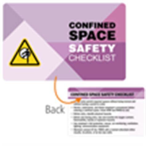 confined space card template confined space safety checklist heavy duty safety wallet