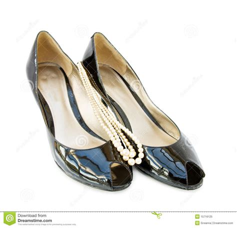 patent leather peep toe shoes black patent leather peep toe shoes royalty free stock