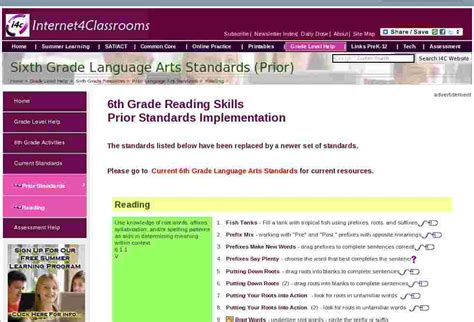 Language Arts Standards 6th Grade Reading Standards