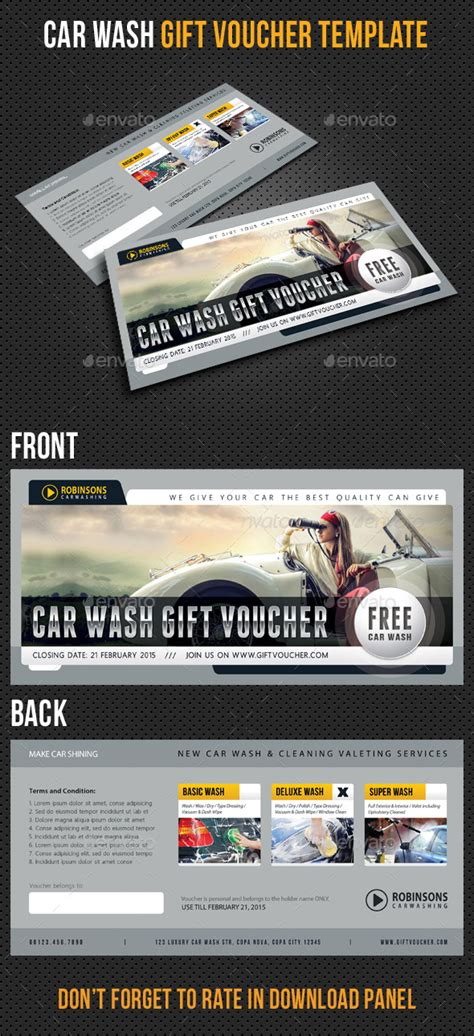 car wash gift card template car wash gift voucher template v03 by rapidgraf graphicriver