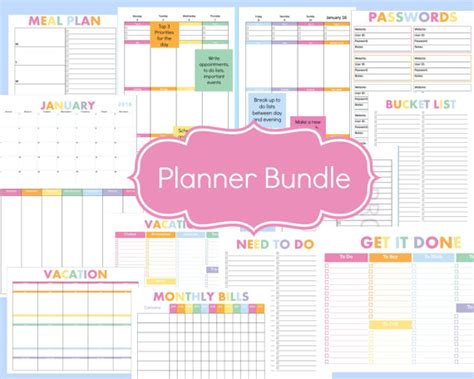 printable calendar 2016 organizer complete 2016 planner bundle with daily and weekly pages