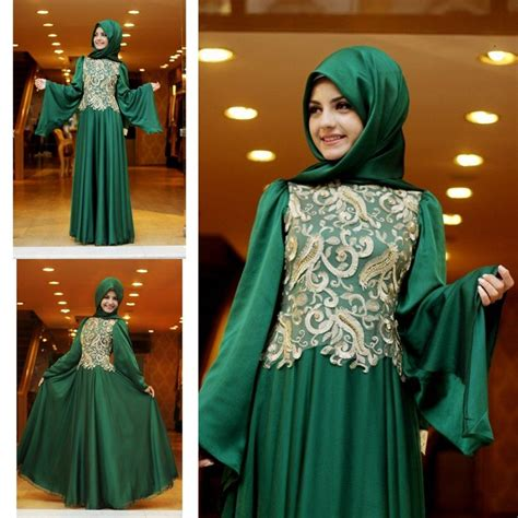 Dh 6592 Kaftan Blue emerald green arabic evening dress indian kaftans dress sleeve formal gown