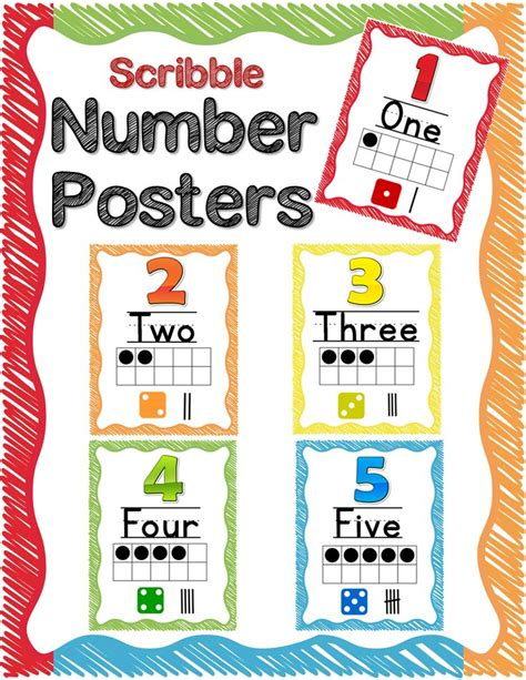 printable number posters 1 20 number posters 0 20 and more rainbow scribble theme