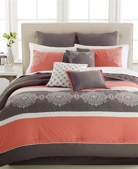 coral and gray bedding hallmart collectibles bedding parson 10 piece queen