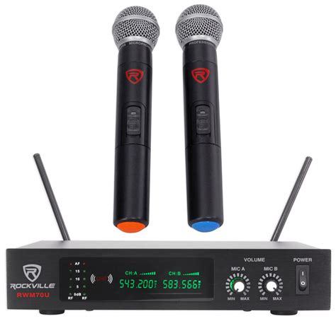 Mic Wireless Doubel Sound Uhf Dielngkapi Lcd Display rockville rwm70u dual uhf all metal handheld wireless microphone system w lcd ebay
