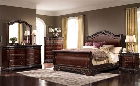 sleigh bedroom set king 4 piece mcferran bella sleigh bedroom set