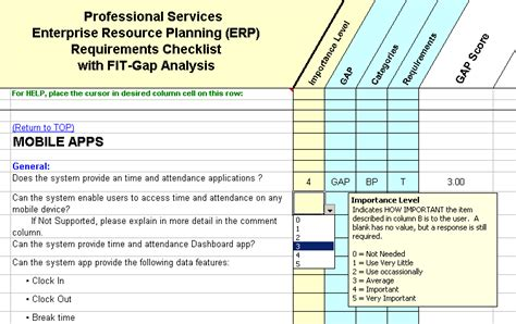Psa Erp Software Requirements Checklist With Fit Gap Analysis Erp Evaluation Template