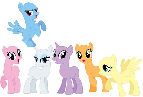 My Little Pony Mane 6 Base | mane six base 04 by selenaede on deviantart