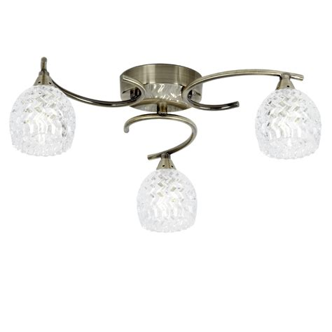 Endon Lighting Boyer Boyer 3ab Antique Brass Glass Semi Flush Ceiling Lights Brass