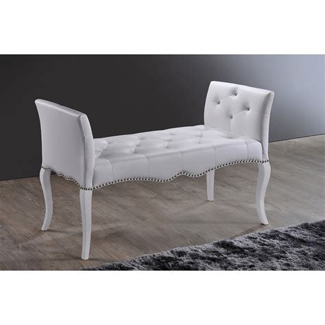 white faux leather bench baxton studio kristy modern and contemporary white faux