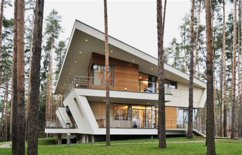 contemporary house in folded plane shape house in gorky