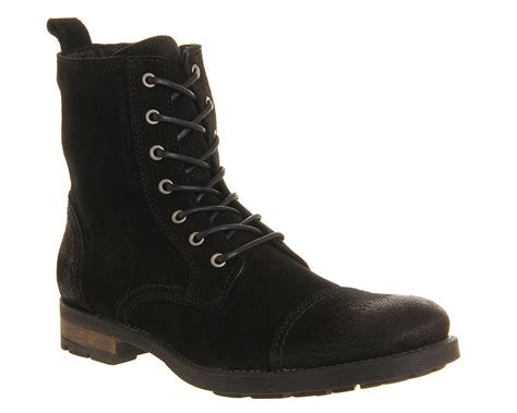 Black Master Boots Laskar Size 39 44 ask the missus malachy toe cap lace boots black waxy suede