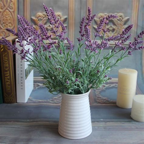fresh home decor artificial flowers plants lavender leaves grass