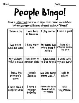 autograph bingo card template bingo beginning of the year by berenter tpt