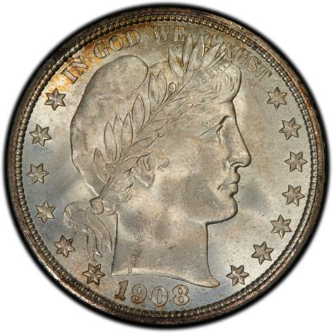 1908 barber half dollar values and prices past sales