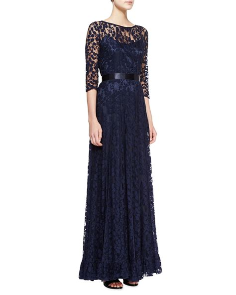 rickie freeman for teri jon 34 sleeve lace overlay gown navy rickie freeman for teri jon 34sleeve lace overlay gown