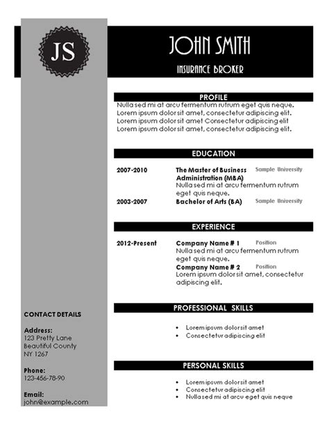 artistic resume templates free creative resume templates
