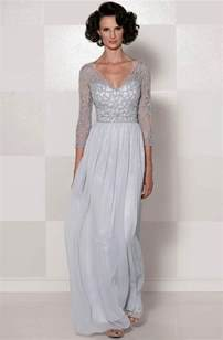 chiffon v neck 3 4 sleeve long slim lace mother of the
