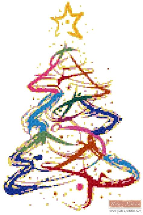 abstract christmas tree cross stitch kit pattern yiotas