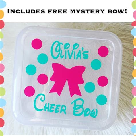 A Free Shipping Mystery - personalized cheer bow box holder includes free mystery