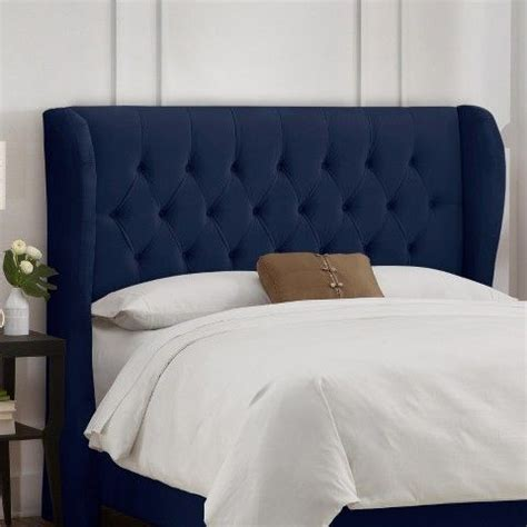 tufted headboard with wings headboards wings and navy on pinterest