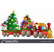 Holidays Santa Reindeer Snowman In Train With Gifts And
