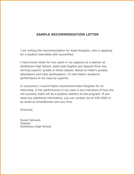 awesome collection of recommendation letter template for student