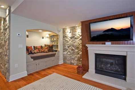 basement renovation  rustic stone walls idesignarch interior design architecture