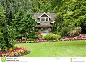English Cottage House Plans Landscaped Cottage In Woods Royalty Free Stock Photo