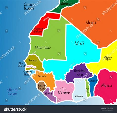 map of west africa political map west africa colorful bright stock