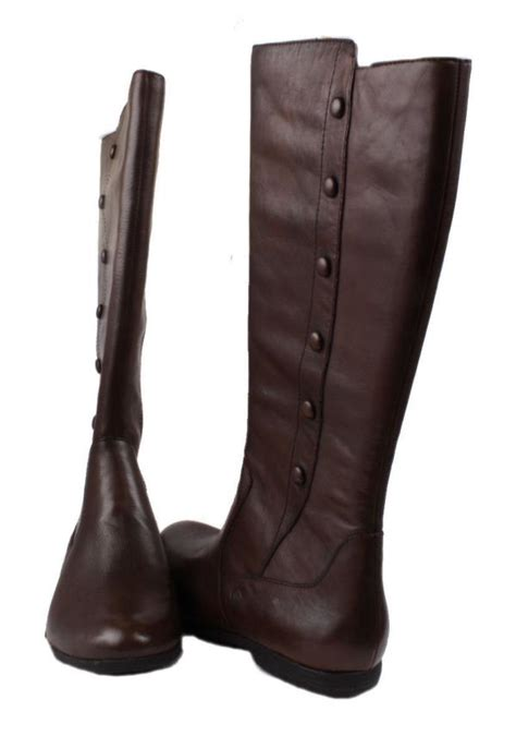 born womens walnut brown slouched leather knee high