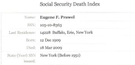 Us Social Security Index Records Family And Descendants Of Gladys L N 233 E Schwert Prawel 1910 1998