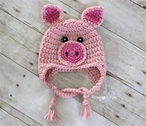 pattern crochet pig repeat crafter me crochet pig hat pattern
