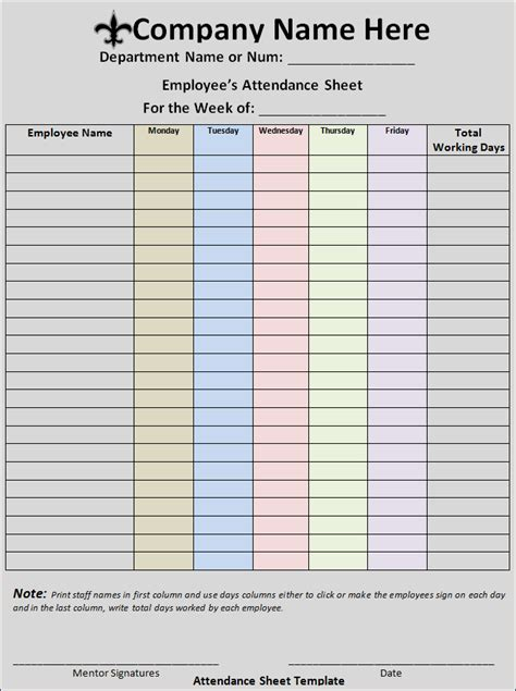 attendance sheet template  word templates