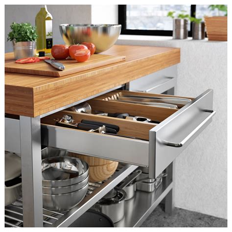 stainless steel kitchen island bench rimforsa work bench stainless steel bamboo 120x63 5x92 cm
