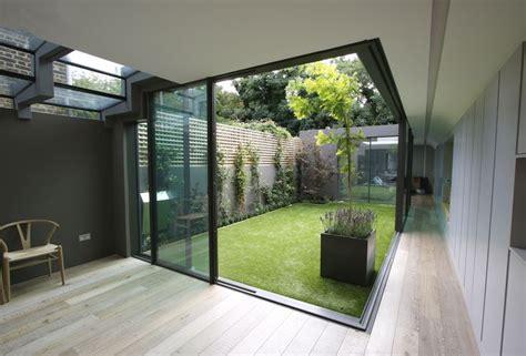 skylight over indoor courtyard interior design ideas the minimal windows slide away from the corner to create