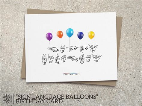 How To Sign Birthday Card Sign Language Balloons Happy Birthday Card Fun Colorful