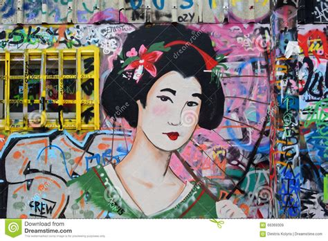 japanese spray paint japanese geisha graffiti editorial stock image image