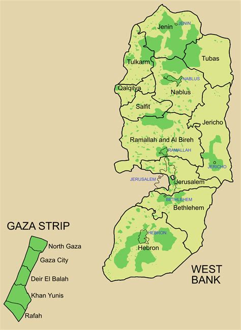 gaza map governorates of palestine