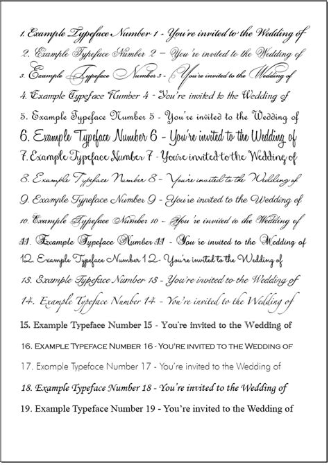Wedding Font List by Orchid Wedding Invitations Orchid Collection