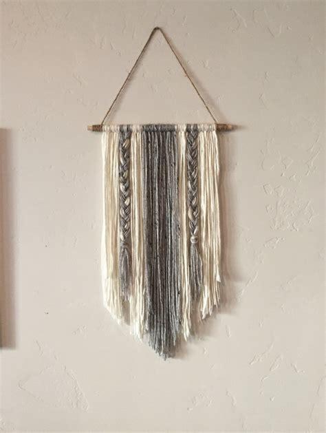 Etsy Wall Hanging - modern yarn wall hanging gray and ivory