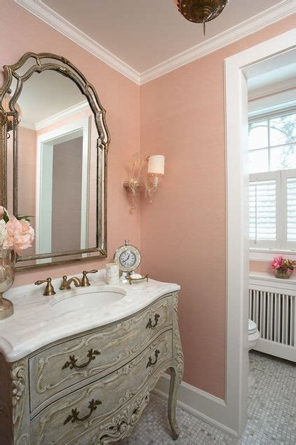 traditional bathroom  mellow coral walls interiors
