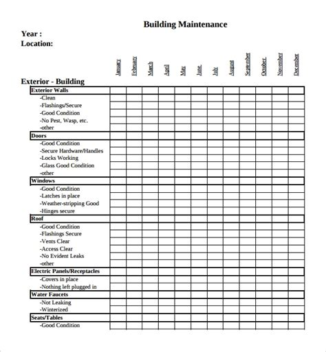 Sle Maintenance Checklist Template 9 Free Documents In Pdf Checklist Template Pdf