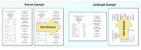 landscape layout printing insert sheets extra paper to print program details