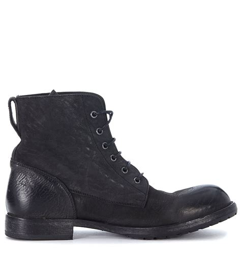 moma moma black vintage leather ankle boots nero