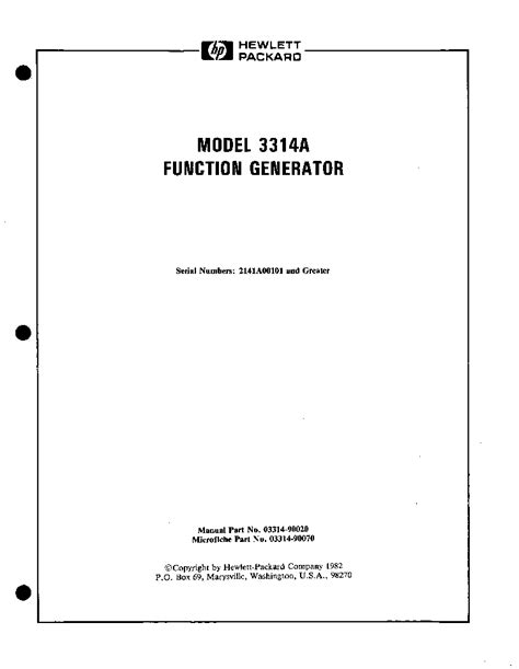 Hp Agilent Technologies 3314a Function Generator Vol2
